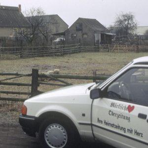 Auf Recherchetour in Biegen in Ost-Brandenburg, wo viele Schafe mit Schweinefutter vergiftet worden waren