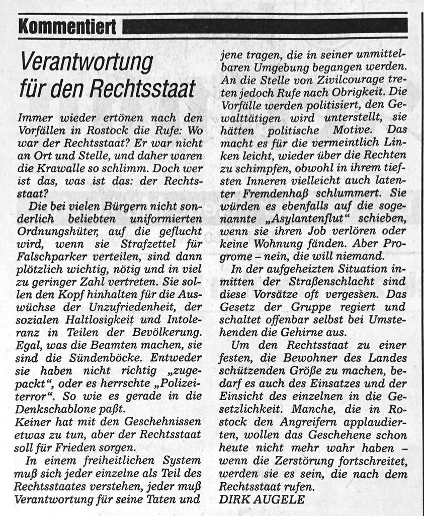 Kommentar aus der Märkischen Oderzeitung
